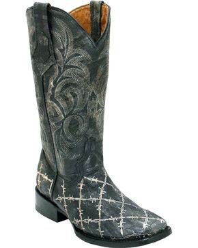 Ferrini Women's Barbed Wire Western Boots - Square Toe, Black, hi-res