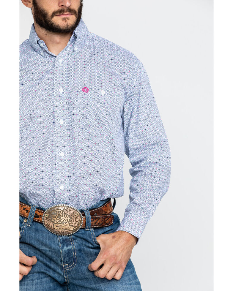 George Strait by Wrangler Men's Navy Small Geo Print Long Sleeve Western Shirt, , hi-res