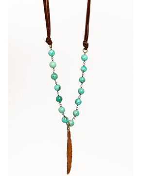 Idyllwind Women's Beaded Bliss Feather Necklace, Turquoise, hi-res