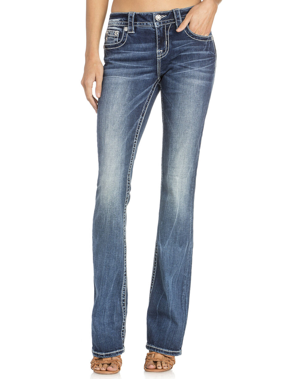 Miss Me Women's Beaded Yoke Boot Cut Jeans , Indigo, hi-res
