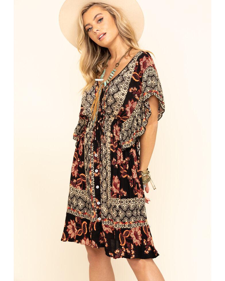 Angie Women's Black Floral Border Print Flutter Sleeve Dress, Black, hi-res