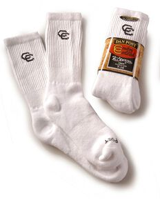 Dan Post Men's Cowboy Certified All Around Crew Socks, White, hi-res