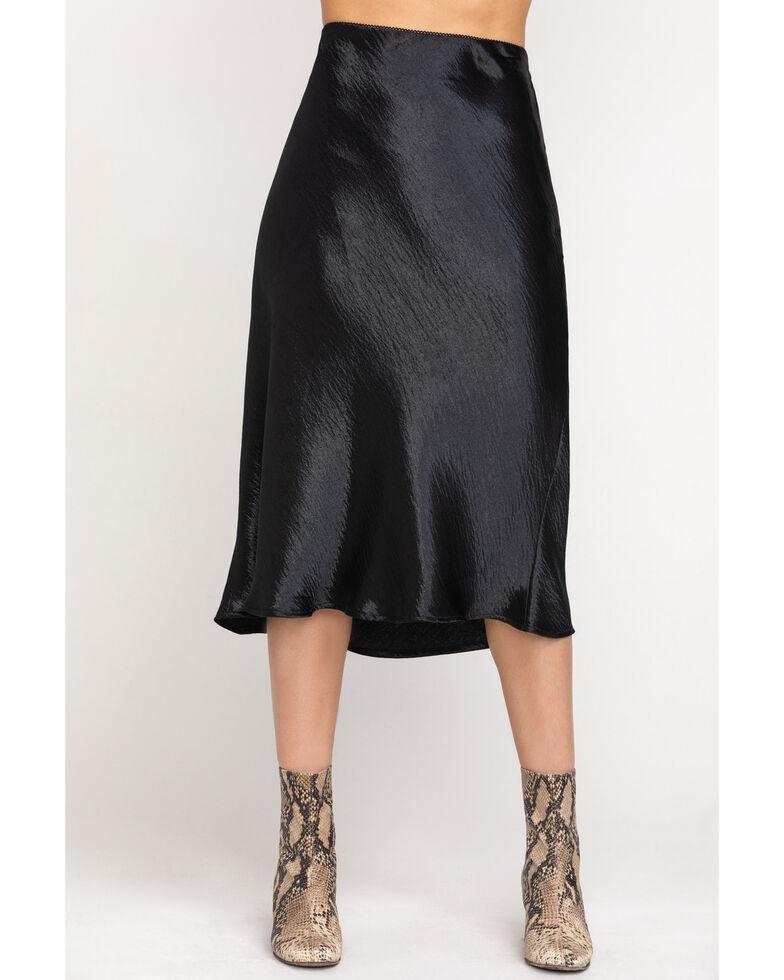 Nikki Erin Women's Satin Midi Solid Skirt, Black, hi-res