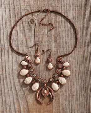 Shyanne Women's Copper Bone Lotus Statement Jewelry Set, Rust Copper, hi-res