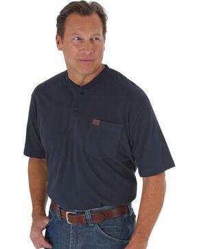 Wrangler Riggs Men's Long Sleeve Pocket Henley - Big, Navy, hi-res