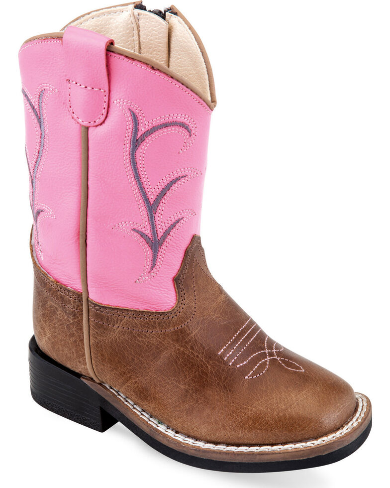 Old West Toddler Girls' Tan Zippered Cowboy Boots - Square Toe , Tan, hi-res