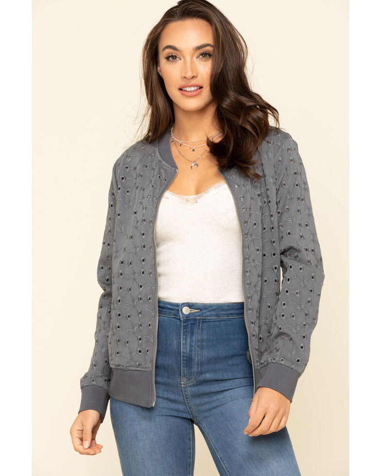 Ariat Women's Grey Revival Bomber, Grey, hi-res