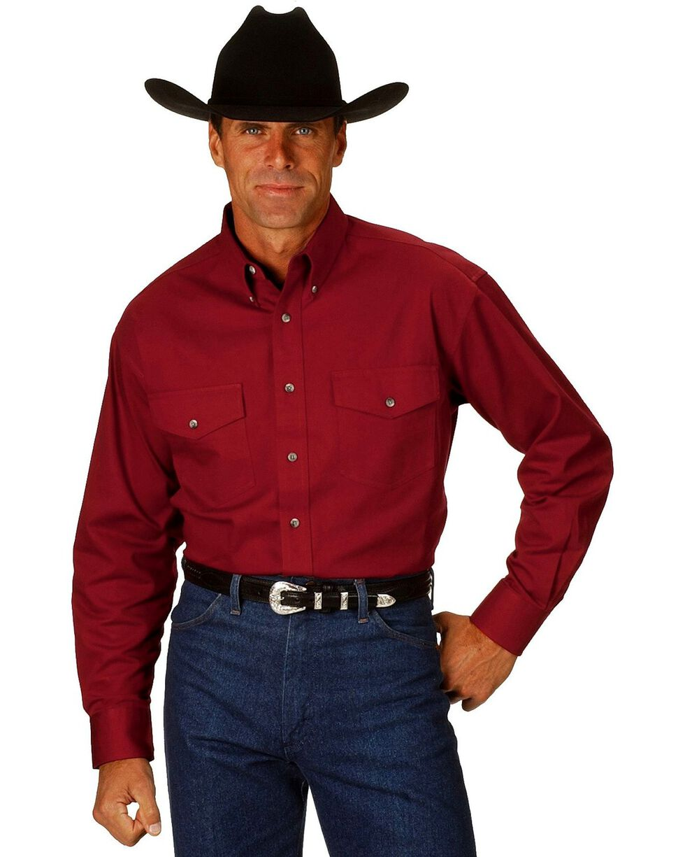 Wrangler Men's Painted Desert Solid Twill Shirt, Red, hi-res