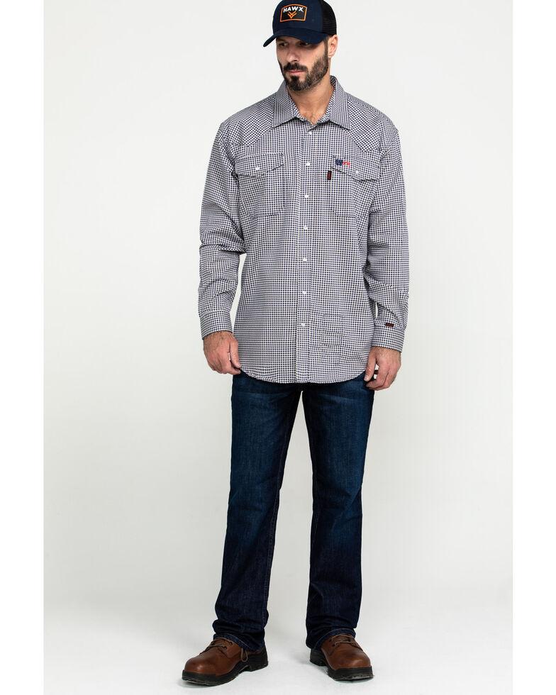 Cinch Men's FR Lightweight Check Print Long Sleeve Work Shirt , Black, hi-res