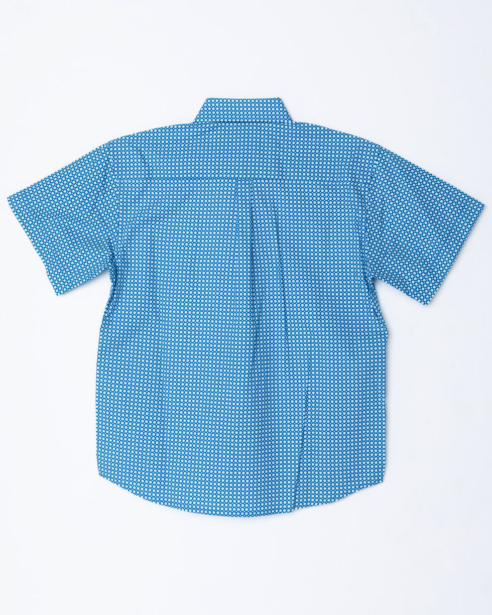Panhandle Boys' Blue Peached Short Sleeve Western Shirt, Blue, hi-res