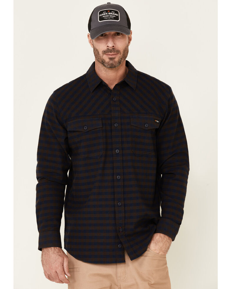 Hawx Men's Navy Newport Herringbone Stretch Check Long Sleeve Work Shirt , Navy, hi-res