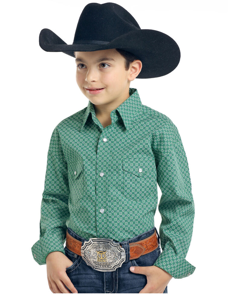 Rough Stock by Panhandle Boys' Pinedale Vintage Print Long Sleeve Western Shirt , Green, hi-res