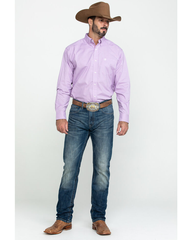 Ariat Men's Foothill Small Plaid Long Sleeve Western Shirt - Big , Purple, hi-res