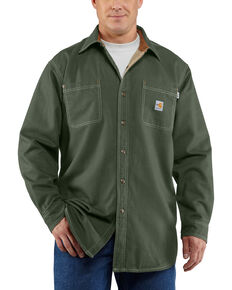Carhartt Moss Green Flame Resistant Canvas Shirt Jacket - Big & Tall, Moss, hi-res