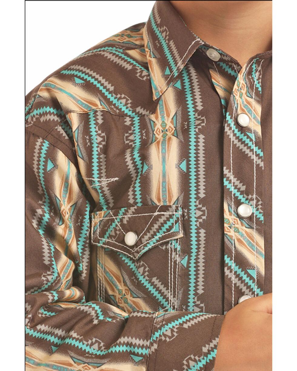 Rock & Roll Cowboy Boys' Heavy Poplin Aztec Print Long Sleeve Western Shirt , Black, hi-res