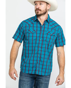 Moonshine Spirit Men's Patriot Act Plaid Short Sleeve Western Shirt , Turquoise, hi-res