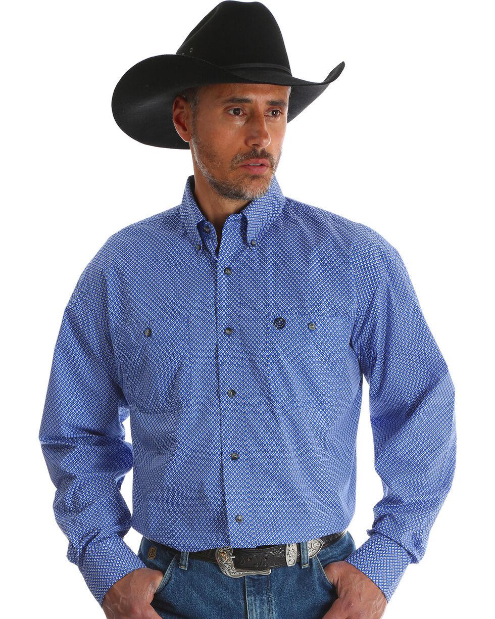 Wrangler Men's Blue Print George Strait Long Sleeve Shirt , Blue, hi-res