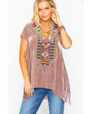 Johnny Was Women's Cherelle Drape Short Sleeve Top, Mauve, hi-res