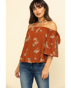 Shyanne Women's Brown Floral Off The Shoulder Festival Top, Brown, hi-res