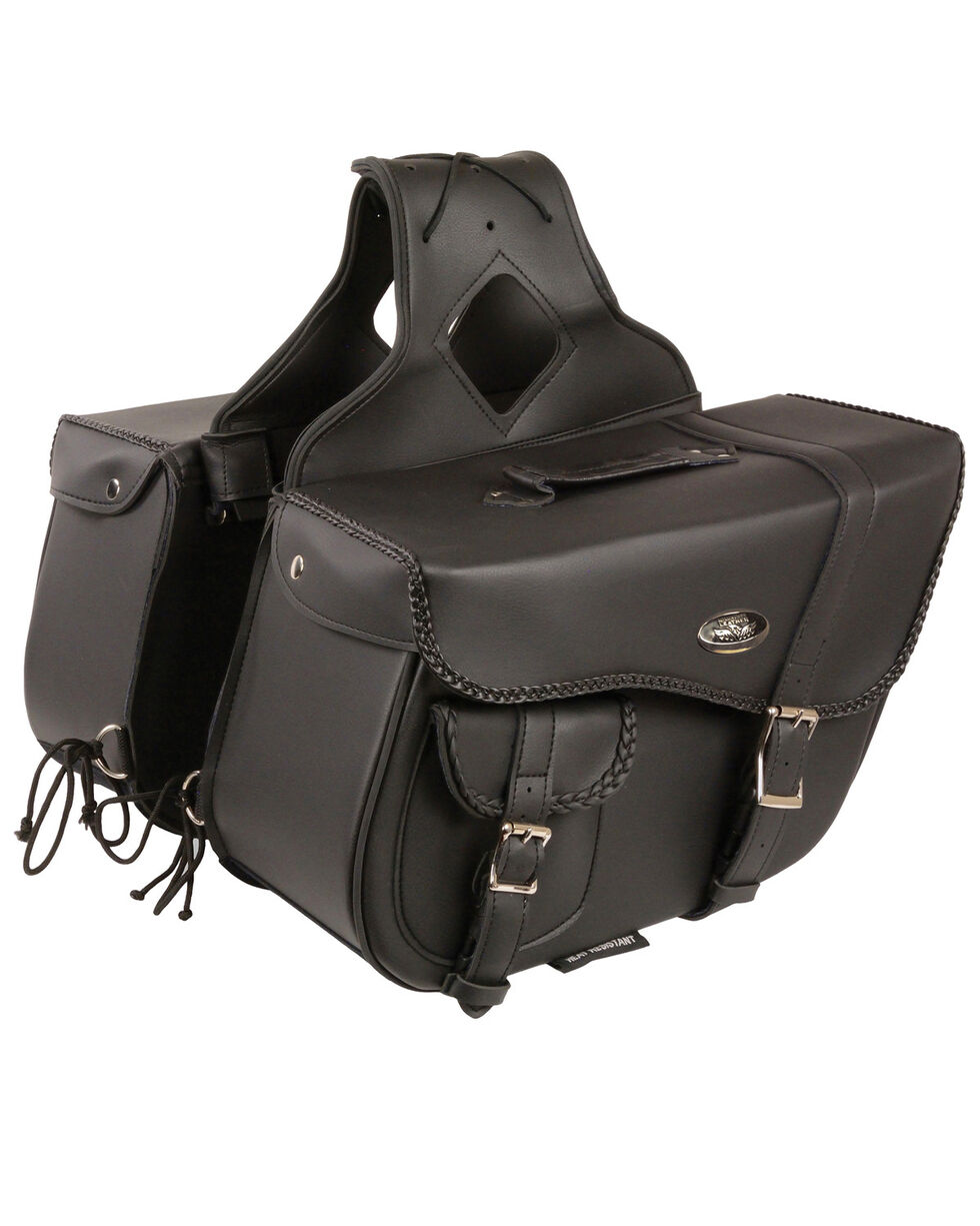Milwaukee Leather Large Braided Throw Over Saddle Bag, Black, hi-res
