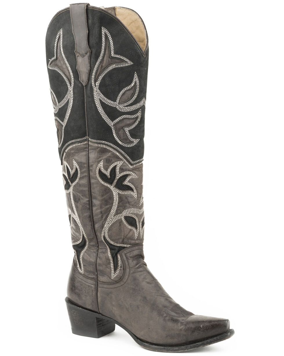 Stetson Women's Catherine Distressed Black Cowgirl Boots - Snip Toe , Black, hi-res
