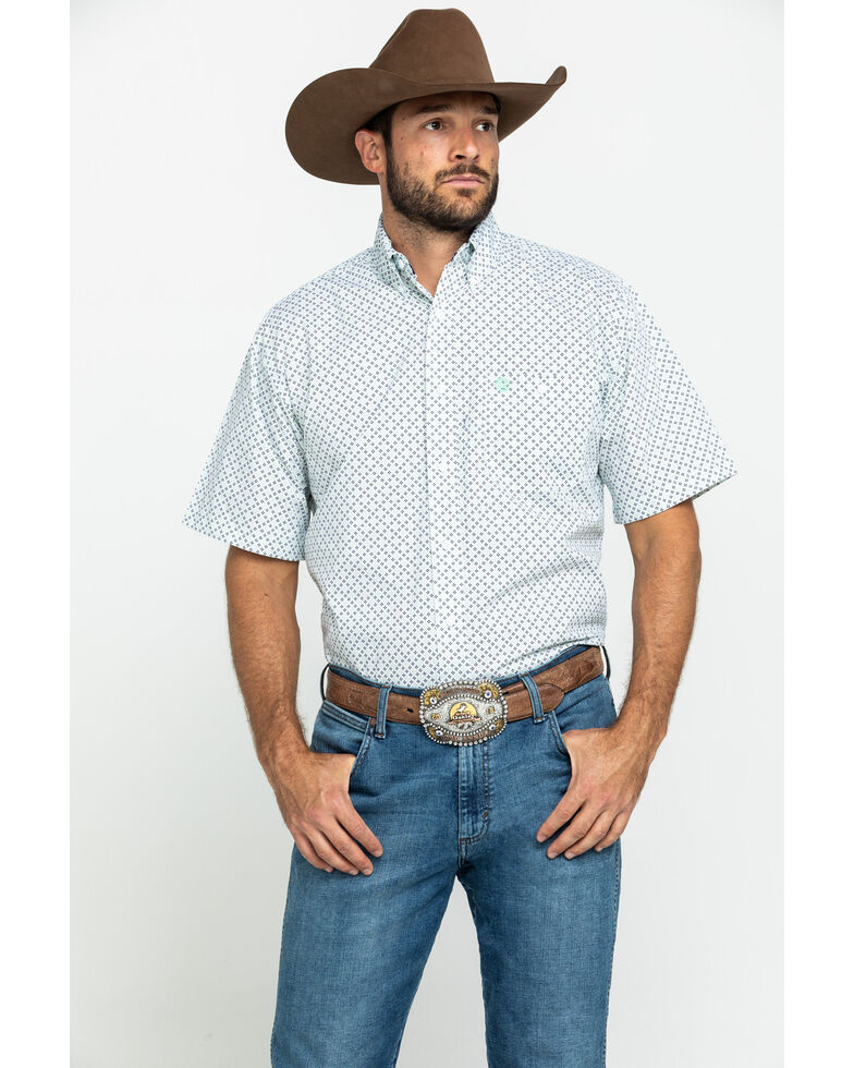 George Strait By Wrangler Men's Mint Small Plaid Short Sleeve Western Shirt , Bright Green, hi-res