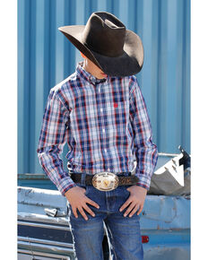 Cinch Boys' Multi Plaid Long Sleeve Western Shirt , Purple, hi-res