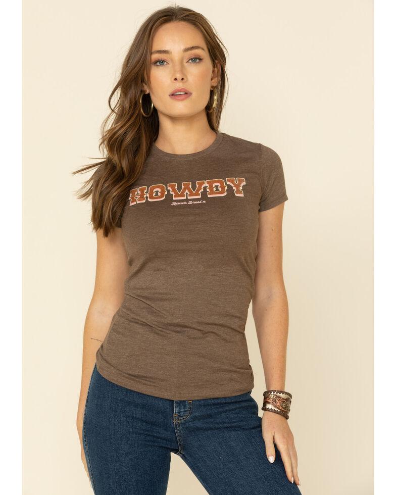 Ranch Dress'n Women's Howdy Graphic Tee , Brown, hi-res