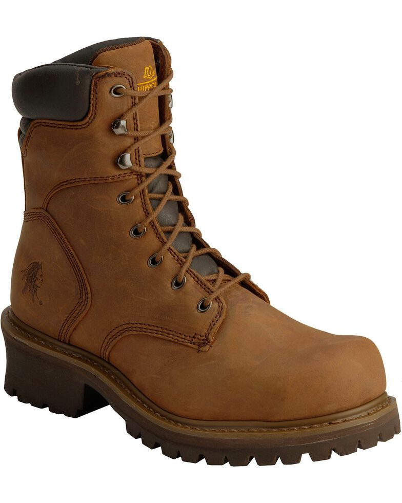 Chippewa Men's Steel Toe Logger Work Boots, Bark, hi-res