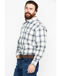 Panhandle Men's Thurston Antique Plaid Long Sleeve Western Shirt, Silver, hi-res