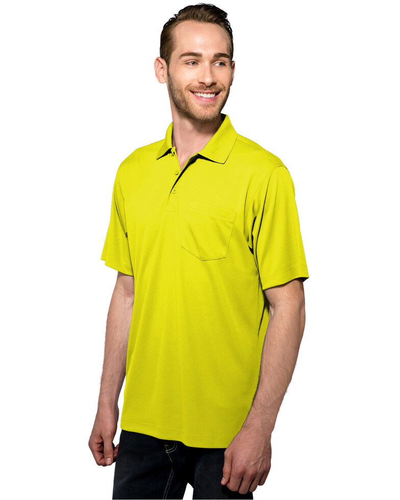 Tri-Mountain Men's Lime Green Large Vital Pocket Polo Shirt - Tall  , Bright Green, hi-res