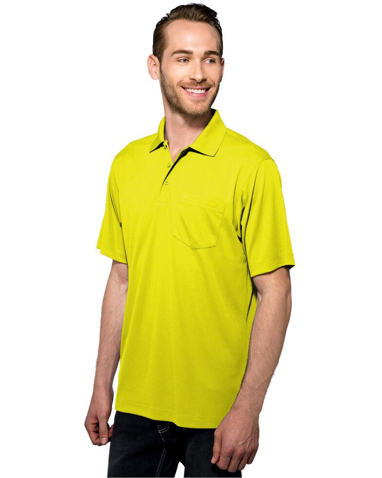 Tri-Mountain Men's Lime Green Large Vital Pocket Polo Shirt - Tall  , Bright Green, hi-res