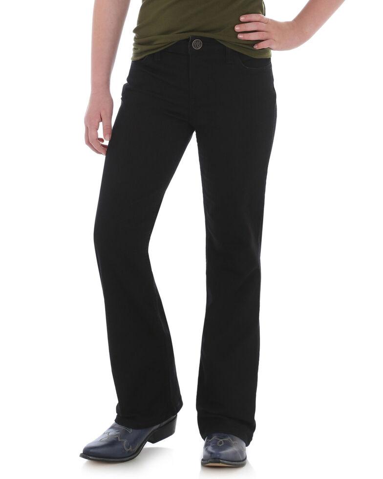 Wrangler Girls' Black Stitch Pocket Bootcut Jeans, Black, hi-res