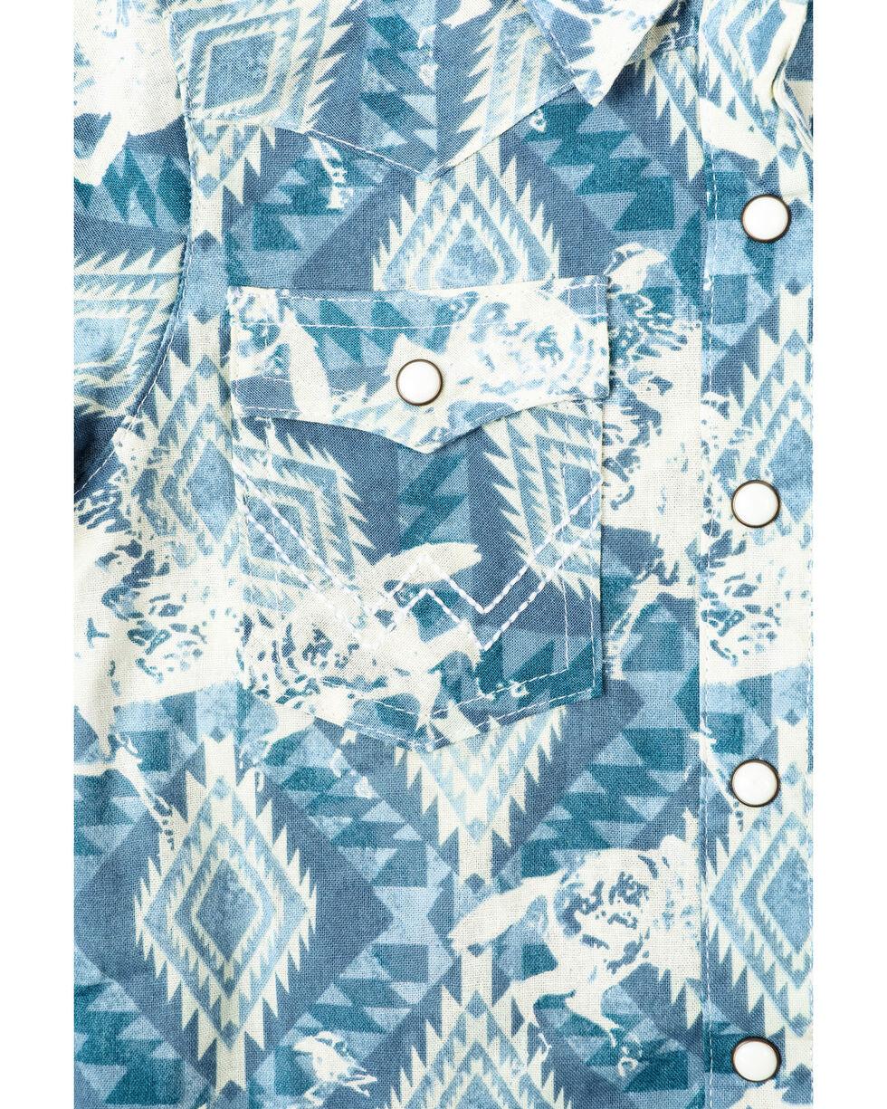 Wrangler Toddler Boys' Checotah Aztec Print Short Sleeve Western Shirt, Blue, hi-res