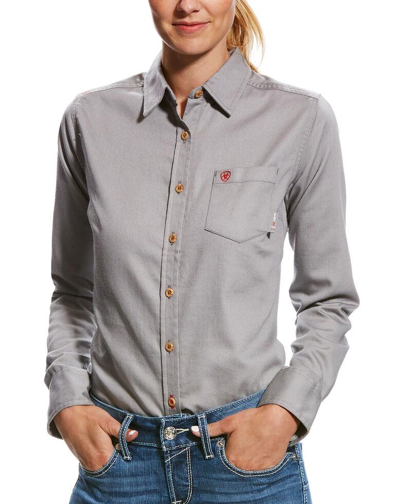 Ariat Women's Silver Fox FR Long Sleeve Button Down Work Shirt, Silver, hi-res