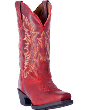 Laredo Women's Malinda Red Cowgirl Boots - Square Toe, Red, hi-res