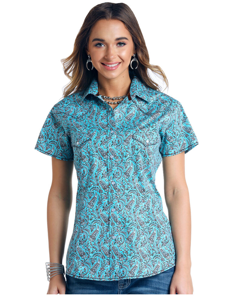 Rough Stock by Panhandle Women's Turquoise Paisley Short Sleeve Western Shirt - Plus , Turquoise, hi-res