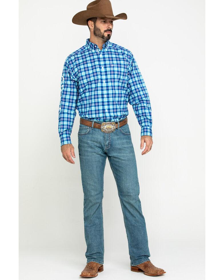 Ariat Men's Bennett Team Plaid Logo Long Sleeve Western Shirt - Big , Multi, hi-res