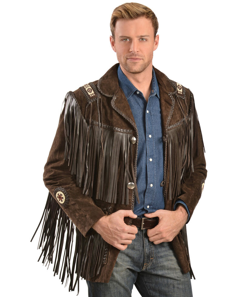 Scully Men's Hand Laced Bead Trim Coat, Brown, hi-res