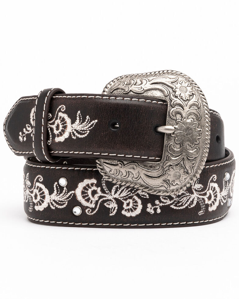 Shyanne Women's Chocolate Floral Embroidered Crystal Western Belt , , hi-res