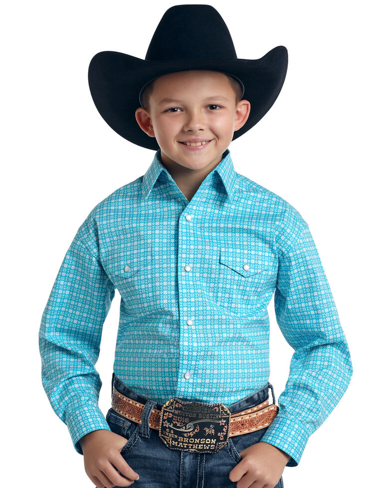 Rough Stock By Panhandle Boys' Cadman Vintage Print Long Sleeve Western Shirt , Turquoise, hi-res