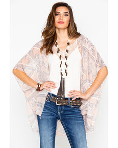 Panhandle Women's Floral Print Lace Back Inset Kimono , Blush, hi-res