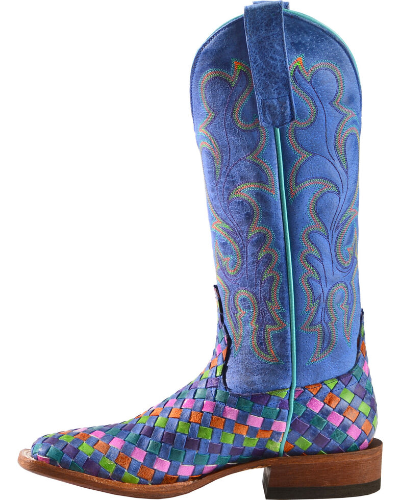 Macie Bean Women's Unbeweavable Cowgirl Boots - Square Toe, Royal, hi-res