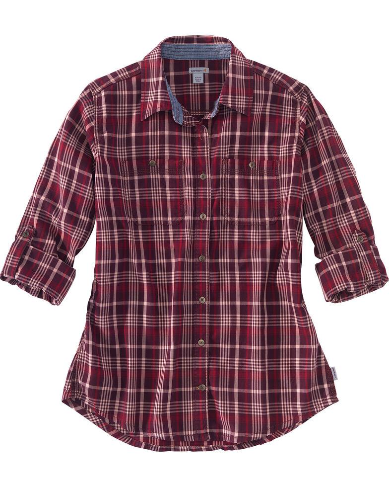 Carhartt Women's Dodson Long Sleeve Shirt, Wine, hi-res