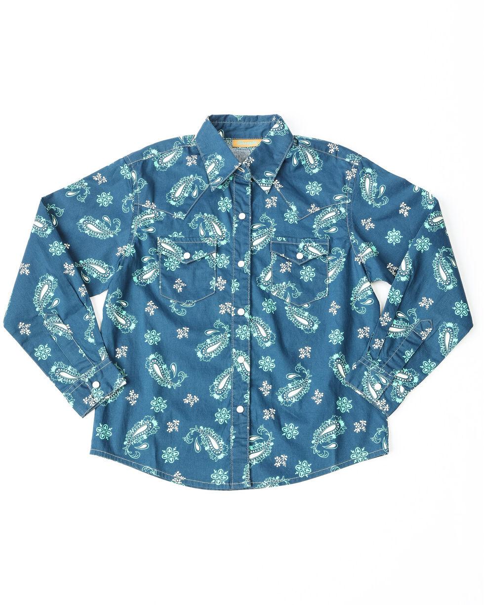 Wrangler Girls' Paisley Print Long Sleeve Western Shirt, Blue, hi-res