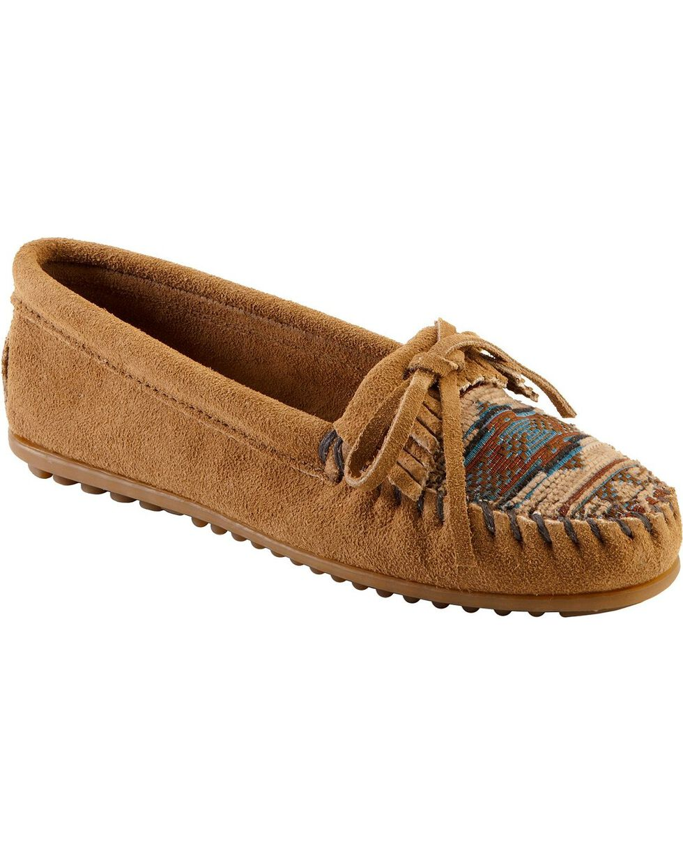 Minnetonka El Paso Woven Southwestern Moccasins, Taupe, hi-res