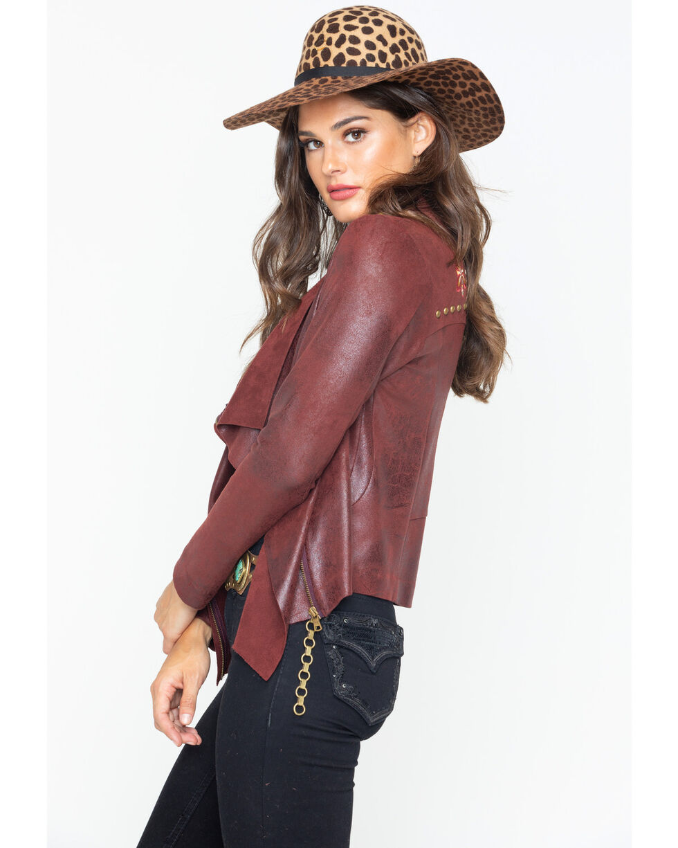 Shyanne Women's Faux Suede Embroidered Jacket , Burgundy, hi-res