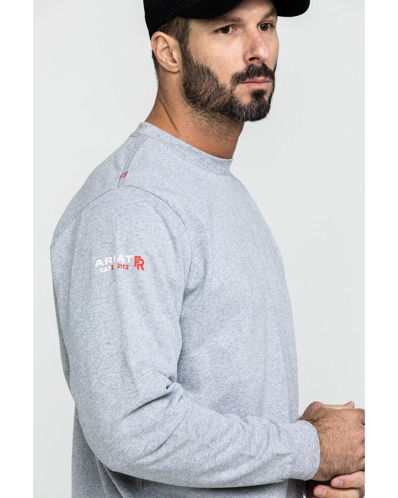 Ariat Men's FR Flame Logo Long Sleeve Work Shirt , Heather Grey, hi-res