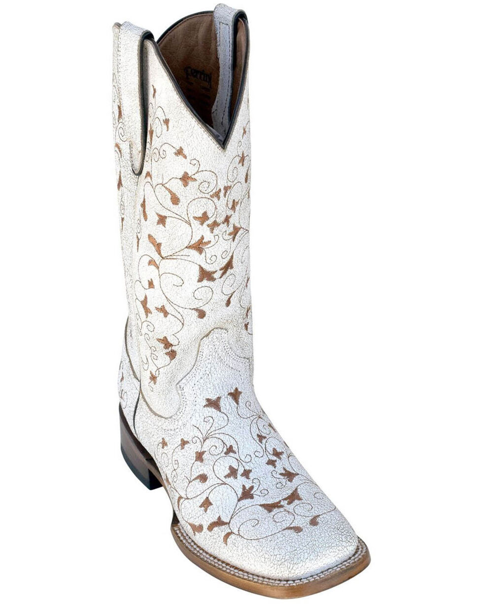 Ferrini Women's Honeysickle Western Boots - Square Toe, White, hi-res