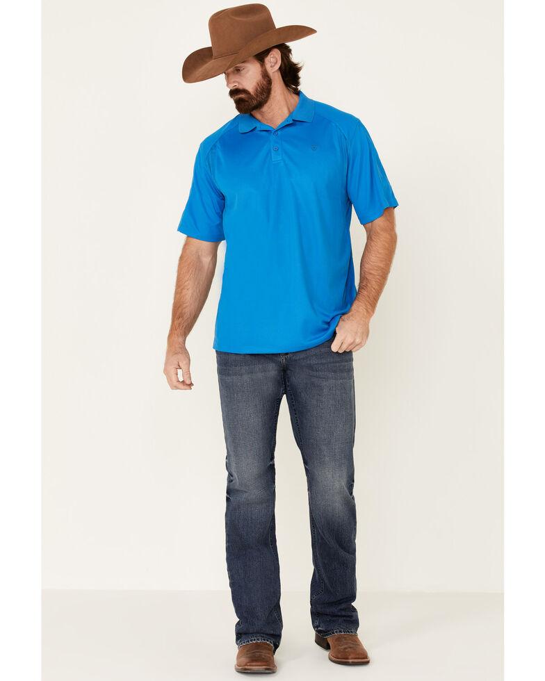 Ariat Men's AC Solid Short Sleeve Polo Shirt - Tall , Blue, hi-res